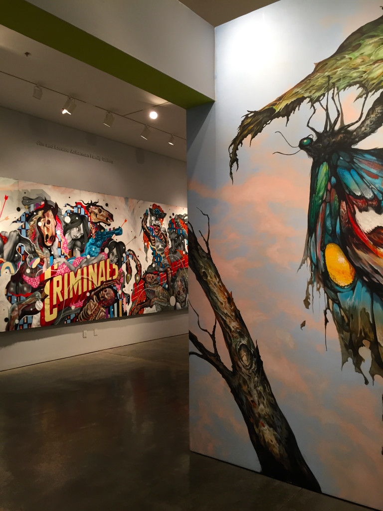 """""""Untitled Mural"""" (left) and """"Imago"""" (right)"""