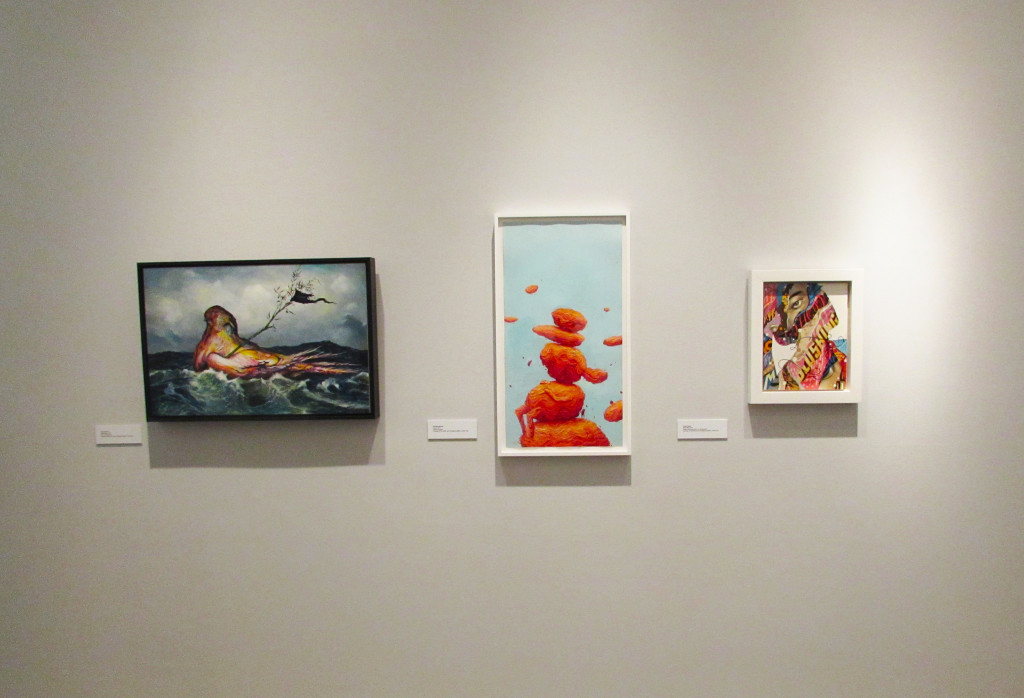 """From left to right, """"Peace Barge"""" by Esao Andrews, """"Teeter"""" by Brendan Monroe, """"Show Me"""" by Tristan Eaton"""