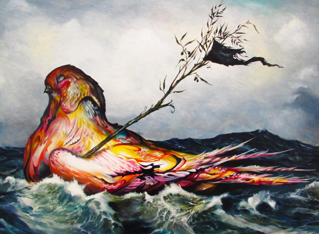 """Peace Barge"" detail, a stranded dove sails across the tumultuous ocean.  Poetic, no?"