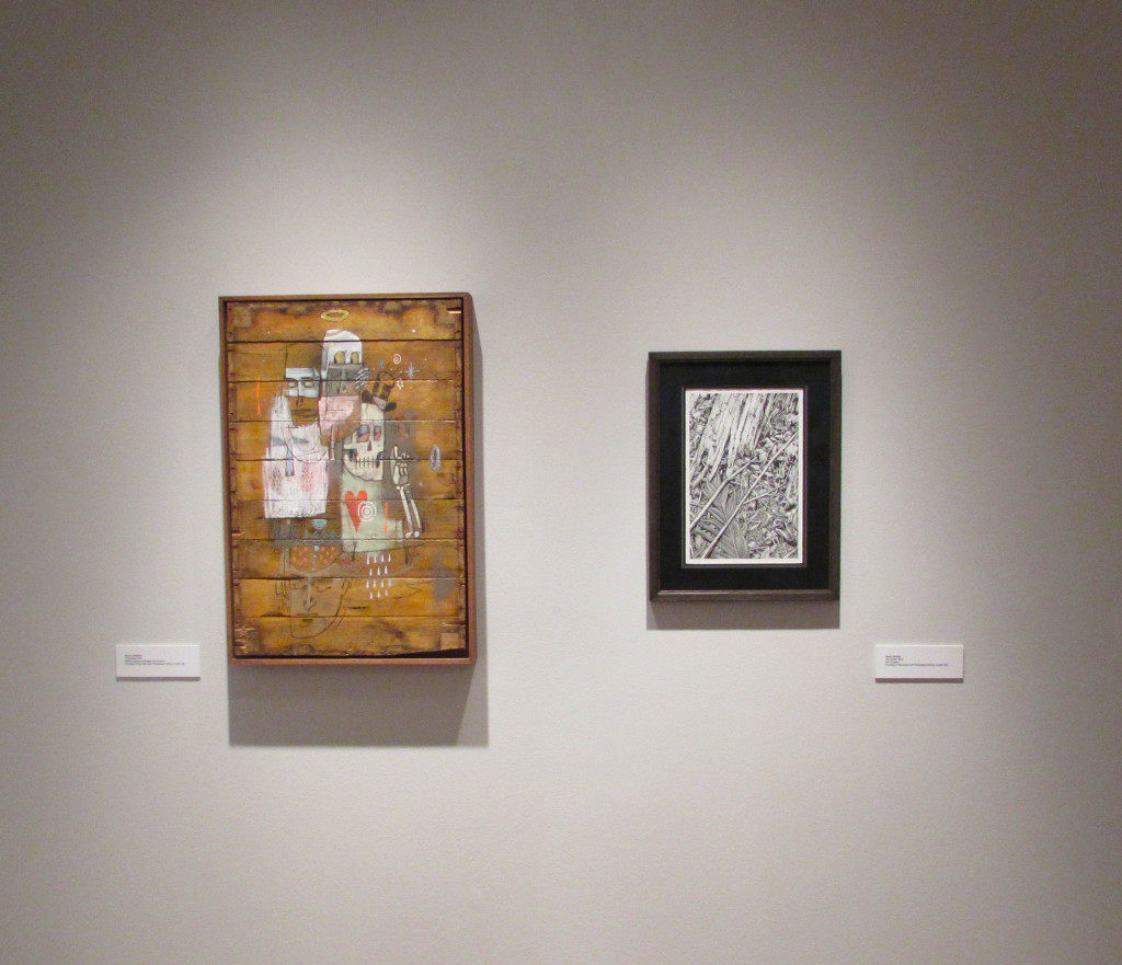 """""""Trasncend"""" by Word to Mother (left) and """"The Cache"""" by Aaron Horkey (right)"""