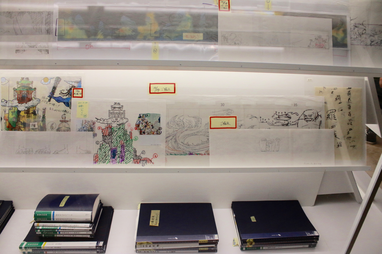 Some of the research materials and drawings created in preparation for The 500 Arhats.