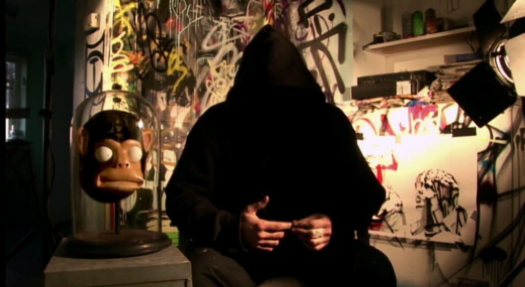 Banksy in his film, Exit Through the Gift Shop